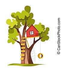 plante, maison, échelle, arbre, isolé, balançoire cour, arrière-cour, ou