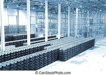 plante, marchandises, eau minérale, fini, production, entrepôt