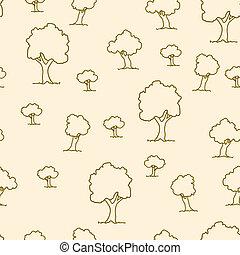 plante, modèle, arbre, seamless, vecteur, fond