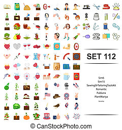 plante, outillage, romantique, kit, set., couture, illustration, adapter, vecteur, pub, icône