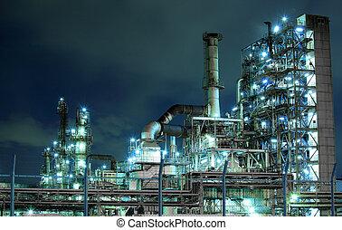 plante, pétrochimique, nuit