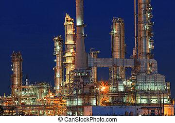 plante, pétrochimique, propriété, industrie, raffinerie, tim, huile, nuit