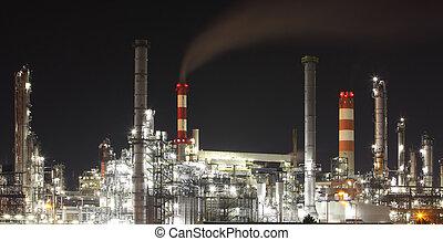 plante, pétrochimique, -, usine, raffinerie, huile, nuit