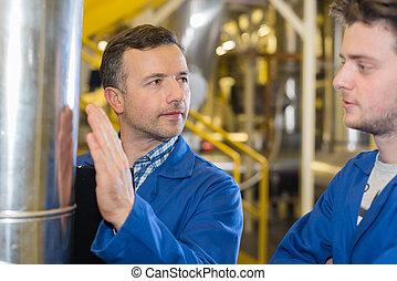 plante, parameters, vérification, ouvriers, deux, pression