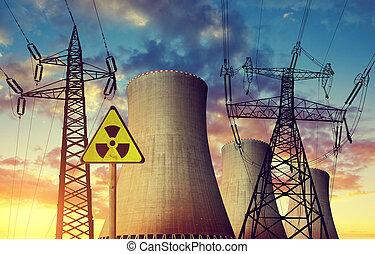 plante, puissance, tours, nucléaire, haute tension