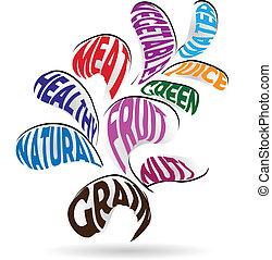 plante, sain, signification, forme, vecteur, icône