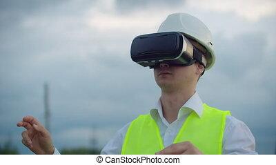 plante, sien, électricien, simuler, puissance, transmission, lignes, travail, fond, graphique, réalité virtuelle, contre, mâle, a haute tension, main, interface, mouvements, lunettes, électrique
