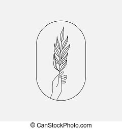 plante, tenue, icône, signe, logo, branche, emblème, main
