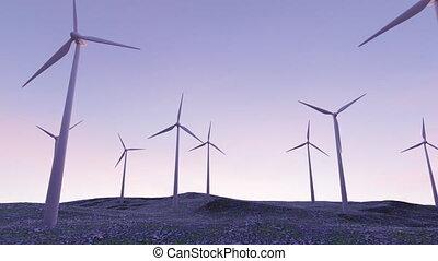plante, tourner, tour, coucher soleil, vent, lames, lent, puissance