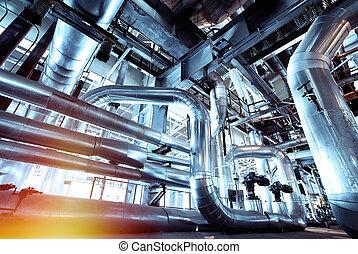 plante, trouvé, câbles, équipement, intérieur, tuyauterie, industriel, puissance