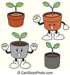 plante, vecteur, ensemble