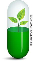 plante, vecteur, pilule