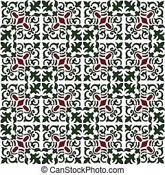 plante, vendange, image, vigne, spirale, seamless, arrière-plan vert, pattern., kaléidoscope