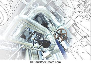 plante, wireframe, canalisations, puissance, moderne, informatique, conception, industriel, cao