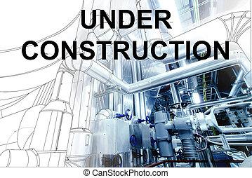 plante, wireframe, canalisations, puissance, texte, sur, moderne, construction, conception, sous, industriel, cao