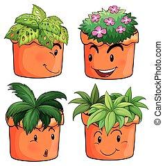 planten, anders, bloem potten, types