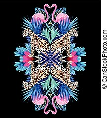 planten, flamingo, tropische , modieus, leopards, spiegel, afdrukken