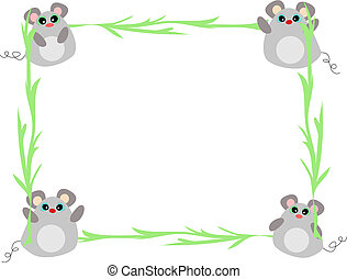 planten, frame, vector, muizen