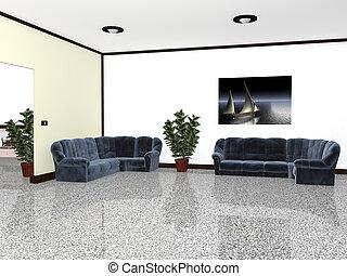 planten, gemeubileerd, stoelen, binnen, grafiek, 3d