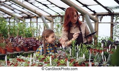planten, haar, dochter, tablet, werkende , het lachen.,...