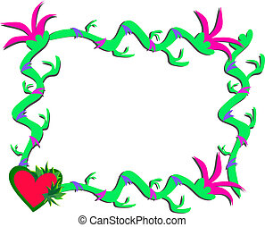 planten, hart, frame