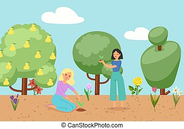 planten, lente, vrouw, vector, illustration., gras, bomen, bloemen, bloeien, spotprent, bloemen, tuin