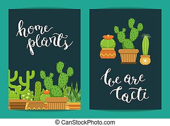 planten, lettering, cactussen, potten, vector, mal, thuis, kaart