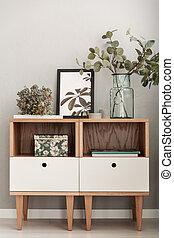 planten, levend, close-up, kabinetten, kamer, moderne, interieur, verfraaide