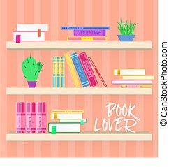 planten, plat, kleurrijke, planken, boekjes , ontwerp, style.