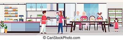 planten, plat, multi, concept, gezin, mensen, generatie, moderne, systeem, hebben, het dineren, lengte, vatting, volle, groeiende, tafel, horizontaal, interieur, ontbijt, smart, keuken