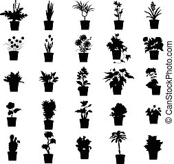 planten, potted, set, silhouettes