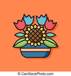 planten, potted, vector, pictogram