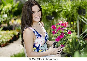 planten, schattig, vrouw, enig, aankoop