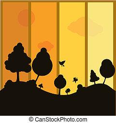 planten, silhouettes, achtergrond