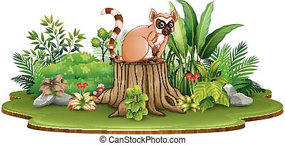 planten, stomp, zittende , lemur, boompje, groene, spotprent, vrolijke