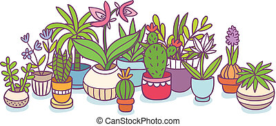 planten, vector, potten, samenstelling, illustratie