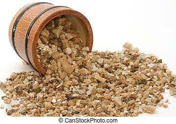 planten, vermiculite, gebruikt, potting