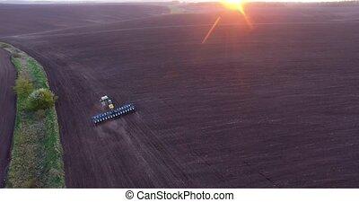 planter, blé, sommet, coucher soleil, tracteur, vue