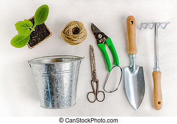 planter, blanc, outils, jardin, fond
