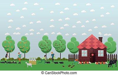 planter, concept, plat, pays, légumes, maison, vecteur, illustration, style.