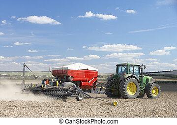 planter, graine, tracteur, champ