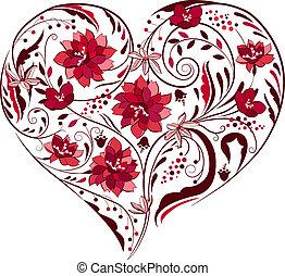 planter, hjerte form, sort, hvid blomstrer