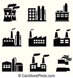 planter, industriel, fabrik, magt, bygninger