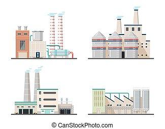 planter, kemisk, industriel, fabrik, magt