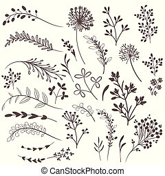 planter, rustic, vektor, design.eps, samling