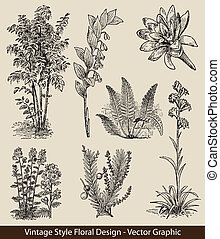 planter, vektor, sæt, blomst