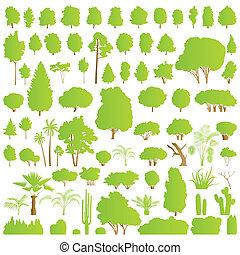 planterar, detaljerad, natur, skura, buske, träd, ...