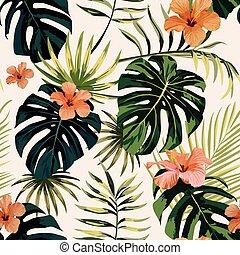 planterar, hibiskus, bladen, seamless, tropisk, bakgrund, vita blommar