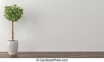 planterar, rum, vägg, inomhus, bakgrund, vit, tom