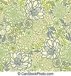 planterar, saftig, mönster, seamless, grön fond